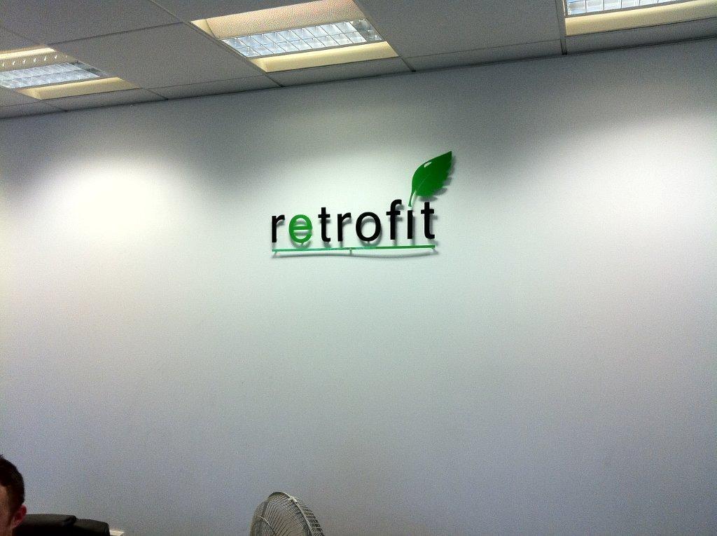 acrylic logo on the wall